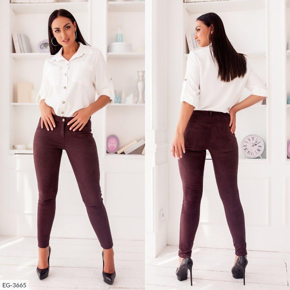 Облягаючі штани стильні замшеві з замша на дайвінг , середня посадка великих розмірів 48-58 арт. 259