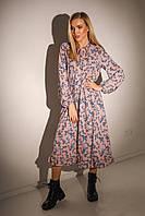Женское платье миди свободного кроя талия на резинке, фото 1