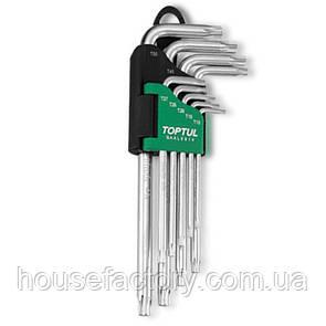 Набор ключей TORX Г-обр. длинных TOPTUL T10-T50 9ед. с отверстием GAAL0919