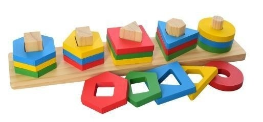 """Дерев'яна іграшка Геометрика """" MD 2305, в коробці, 20 фігур"""