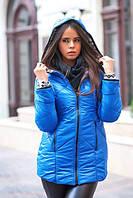 Практичная теплая женская куртка средней длины с вязаными вставками плащевка флис силикон