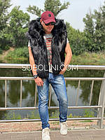 Мужской жилет с капюшоном из чернобурки
