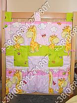 Карман органайзер 65х60 см для аксессуаров на детскую кроватку, розовые расцветки, фото 3