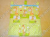 Карман органайзер 65х60 см для аксессуаров на детскую кроватку (салатовые расцветки)