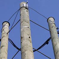Деревянная опора высотой 9,5 м для линий электропередачи 0,4 -10 кВ