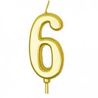 Свеча для торта цифра 6 золотая
