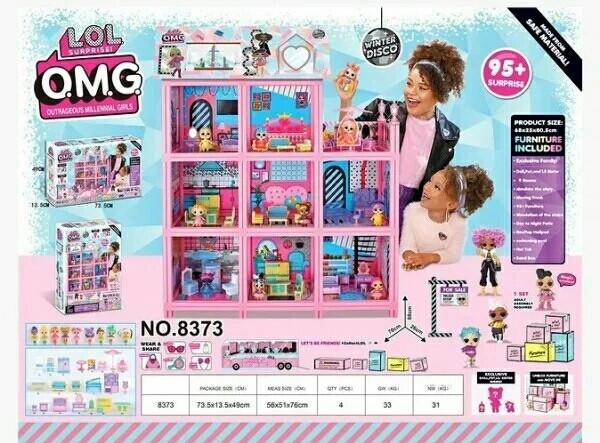 Дом для кукол Лол 8373, 3 этажа, в коробке