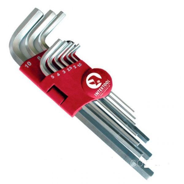 Набор Г-образных шестигранных удлиненных ключей 9 ед. Cr-V 55 HRC INTERTOOL HT-0602