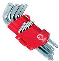 Набор Г-образных шестигранных ключей с шарообразным наконечником 55 HRC Big INTERTOOL HT-0603