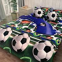 """""""футбол"""" комплект постельного белья полуторный 150/210 см, нав-ки 70/70, ткань сатин"""