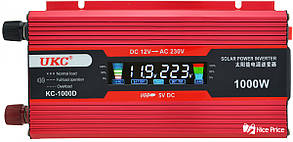 Преобразователь Ukc авто инвертор 12V-220V 1000W Lcd kc-1000D Usb