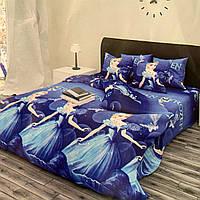 Комплект постельного белья полуторный 150/220 с детским рисунком, две нав-ки 70/70,ткань сатин