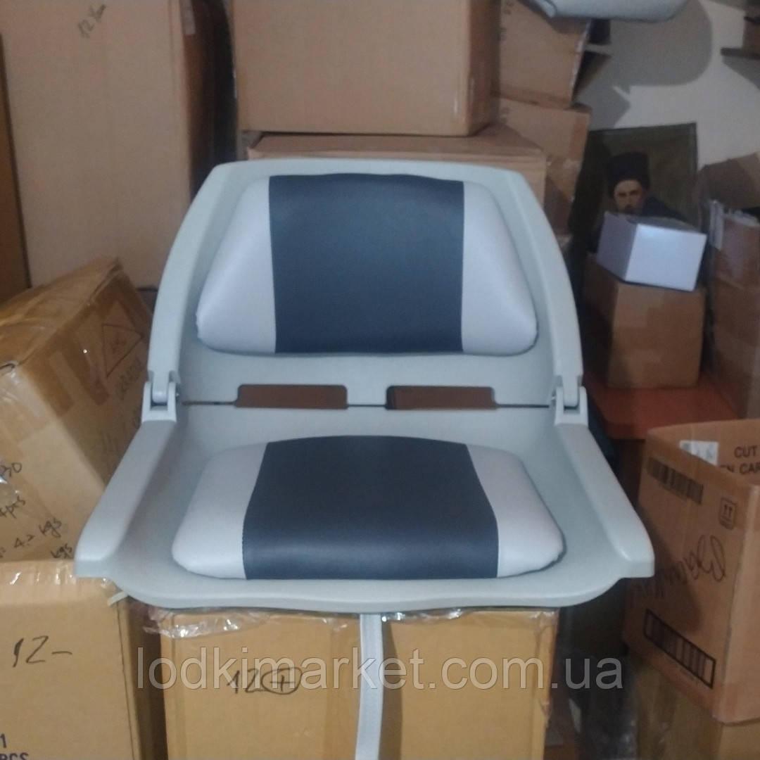 Крісло для човни ПВХ пластикове з м'якими вставками колір сірий