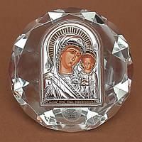 Божией Матери Казанская Икона Серебро 925°с позолотой Silver Axion (Греция) на стеклянной основе