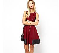 Женское платье Вино с кож. вставками бордо , фото 1