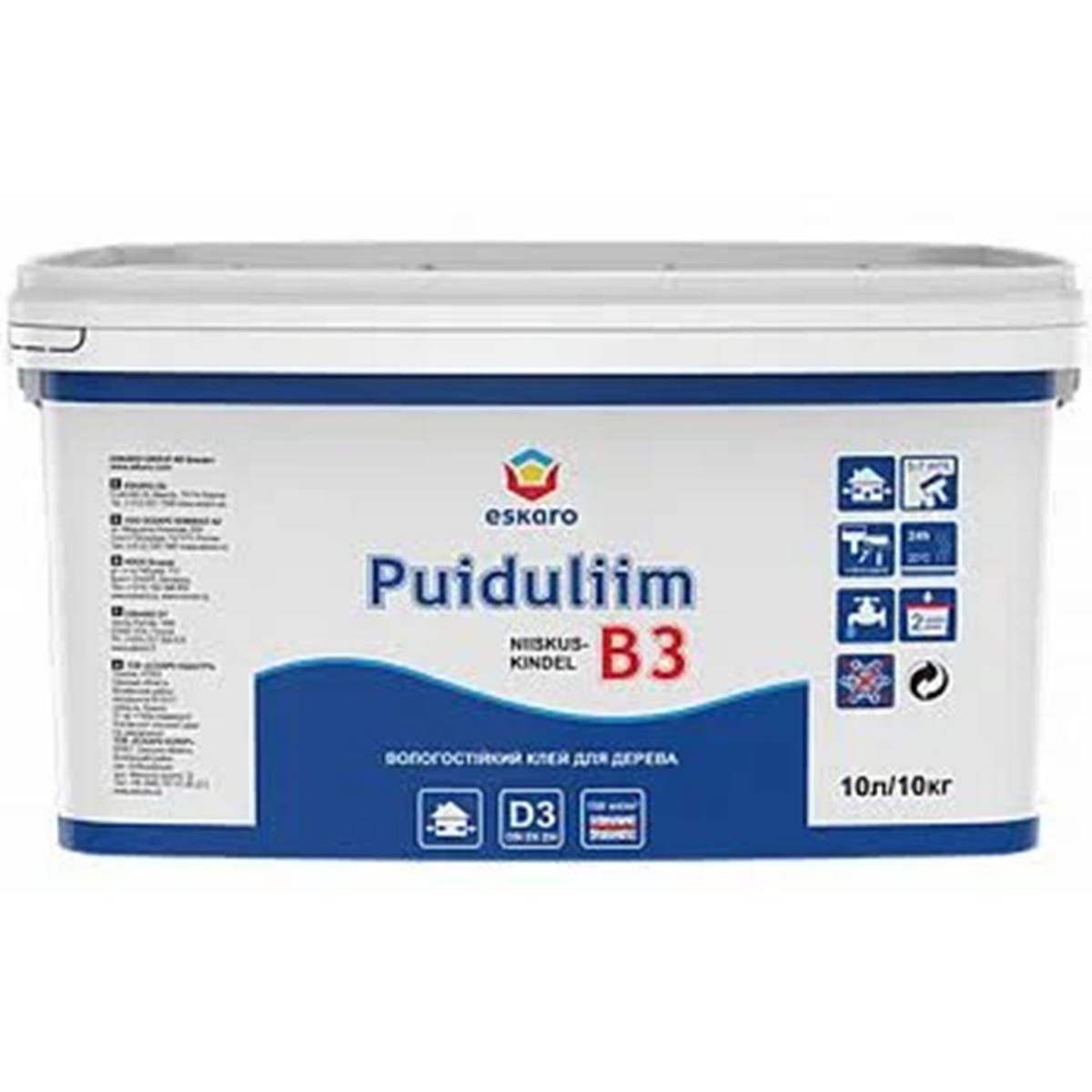 Влагостойкий клей для дерева Puiduliim B3 Eskaro 10л