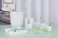 Набор аксессуаров в ванную комнату из 7 предметов белого цвета со стразами, фото 1