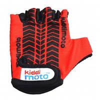Перчатки детские Kiddi Moto с рисунком протектора, красные, размер S на возраст 2-4 года