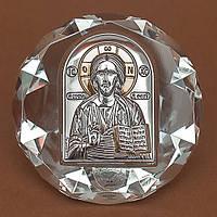 Икона Спаситель Серебро 925°с позолотой на стеклянной основе Silver Axion (Греция)