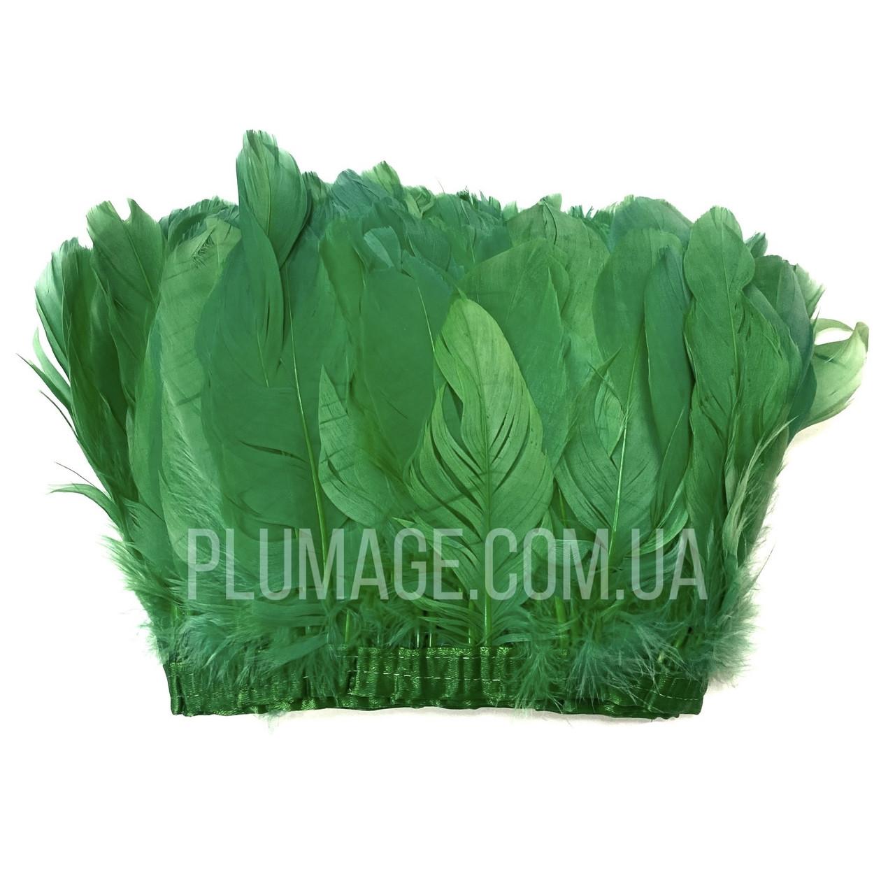 Перьевая тесьма из гусиных перьев. Цвет зеленый. Цена за 0,5 м