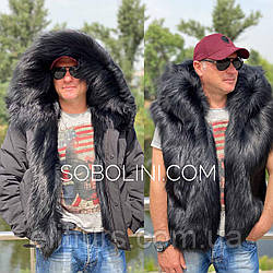 Мужская  куртка 2 в 1 с мехом чернобурки