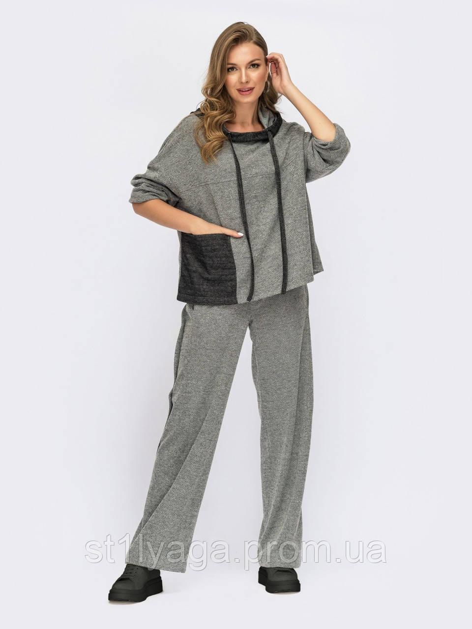 Костюм в спортивному стилі кофта та штани вільного крою сірий