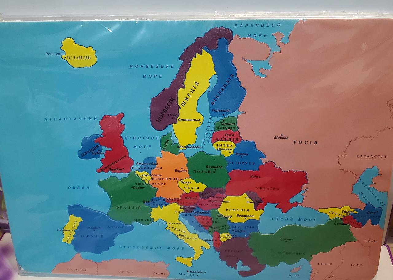 "Пазлы ""Карта Европы"" пластиковые (42 * 30)"