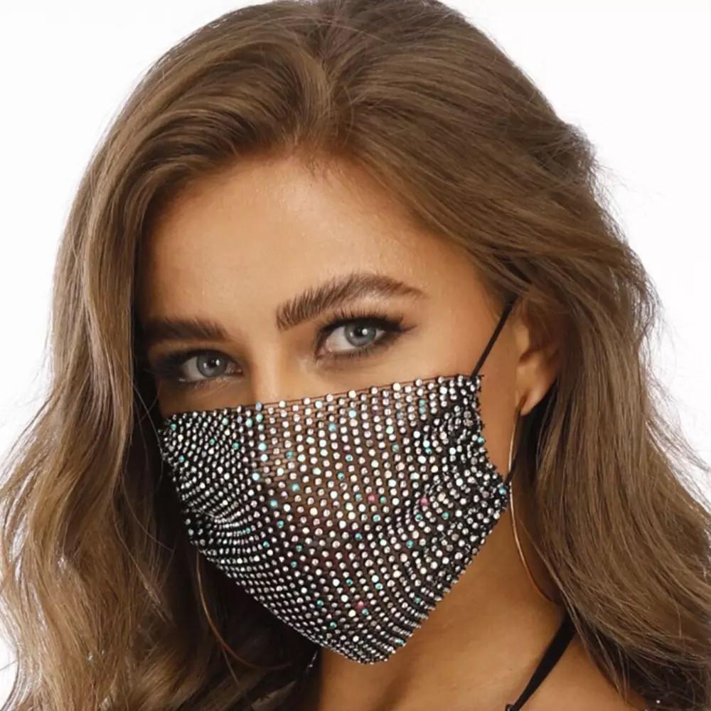 Декоративная маска для лица со стразами