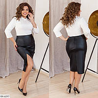 Спідниця олівець жіноча облягає з еко шкіри по коліно з високим розрізом на нозі р-ри 48-58 арт.115