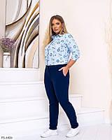 Стильні штани жіночі повсякденні завужені з кишенями зі стрілками великих розмірів 50-56 арт. 65