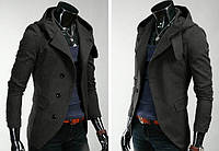 Мужское кашемировое пальто приталенное черное