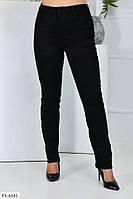 Черные джинсовые брюки женские классические приталенные стрейч джинс больших размеров батал 50-58 арт.1041/118