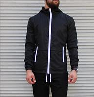 Мужская легкая ветровка черная, мужские демисезонные куртки и ветровки с капюшоном весна осень