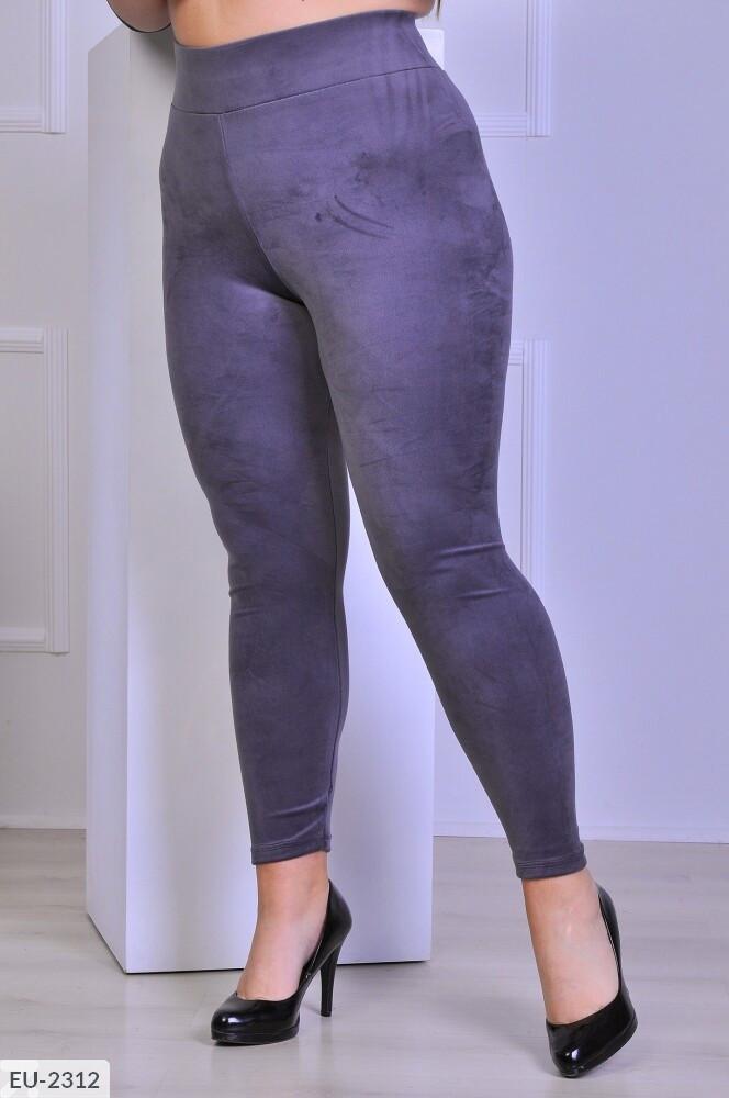 Велюровые лосины женские облегающие серые по фигуре больших размеров батал 48-56 арт.  1041/749