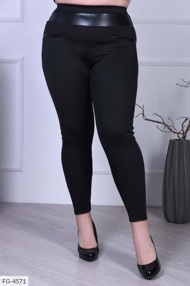 Облягаючі стягуючі жіночі лосини чорні з завищеною талією великих розмірів батал 50-58 арт.1041/918