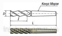 Фреза концевая с коническим хвостовиком (удлиненная) 25х45х147 z3 КМ3 Р6М5 2223-0091 ГОСТ 17026-71