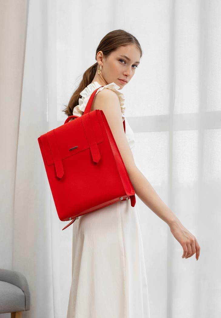 Рюкзак міський шкіряний жіночий червоний BN-BAG-29-bw-red