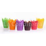 Паперові формочки для кексів Тюльпан пурпурові (150 шт, d=35 мм, висота бортика=35/50 мм), фото 2