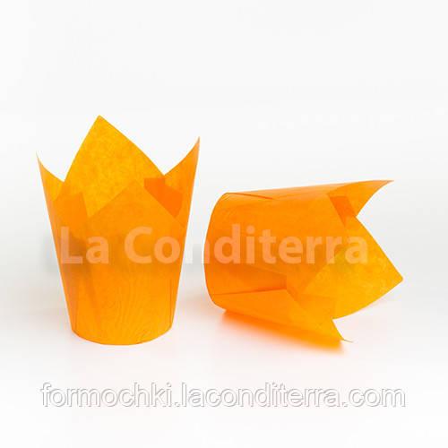 Бумажные формы Тюльпан оранжевые, формочки для выпечки кексов (100 шт., d=60 мм, высота бортика=60/90 мм)