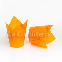 Бумажные формы Тюльпан оранжевые, формочки для выпечки кексов (100 шт., d=60 мм, высота бортика=60/90 мм), фото 1