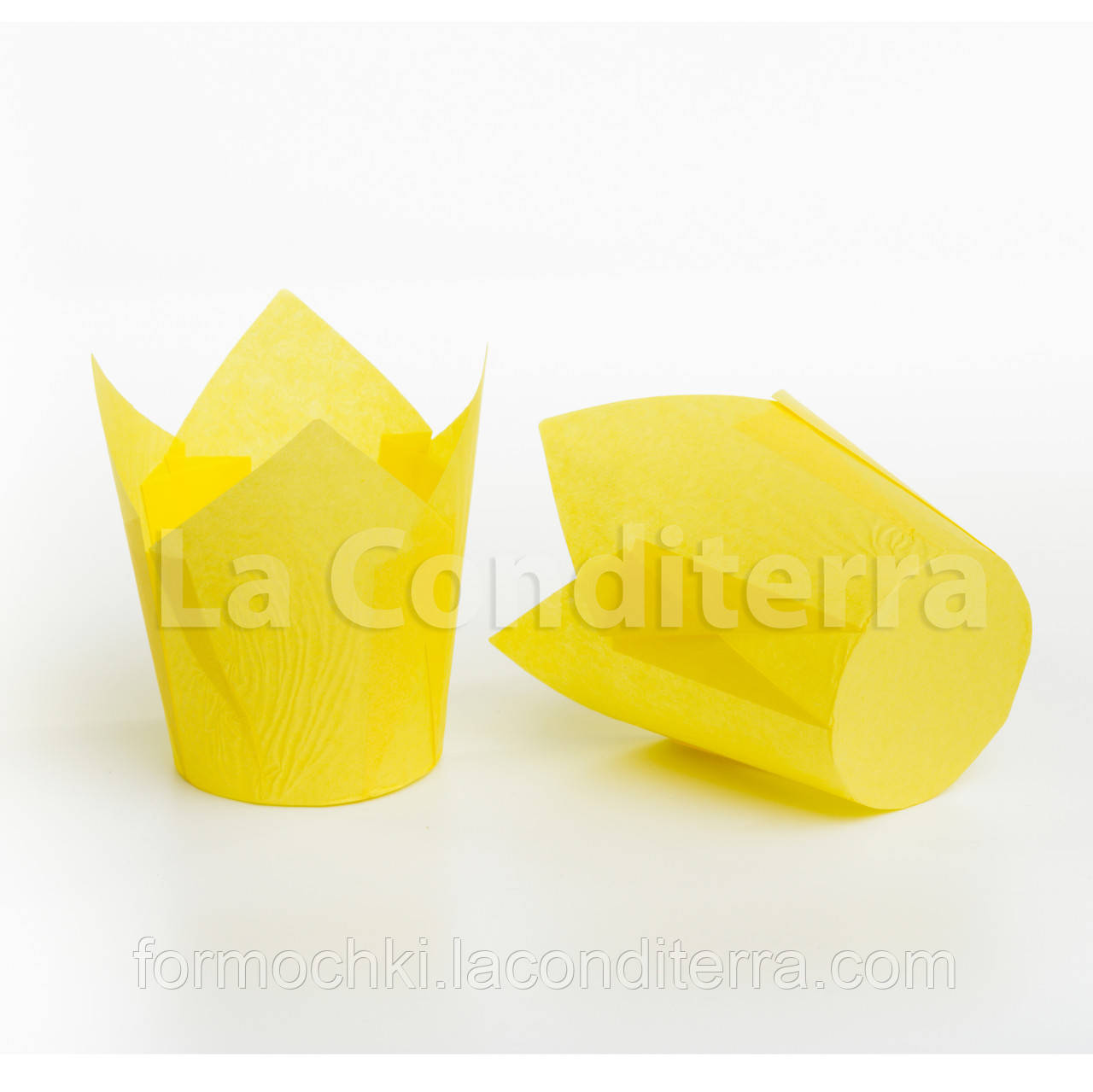 Формочки для кексов Тюльпаны желтые (100 шт., d=60 мм, высота бортика=60/90 мм)