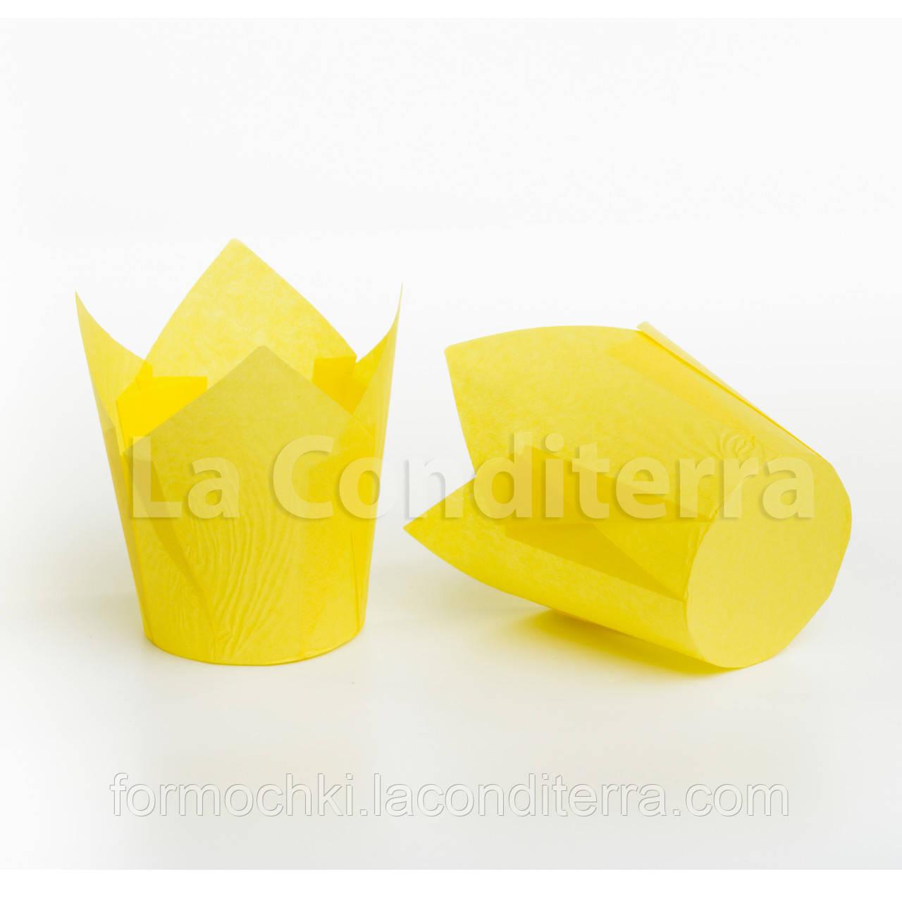 Формы Тюльпан желтые, бумажные формочки для кексов (150 шт., d=50 мм, высота бортика=50/75 мм)