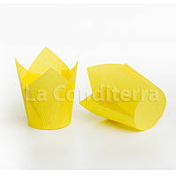 Бумажные формочки для кексов Тюльпан желтые (150 шт., d=35 мм, высота бортика=35/50 мм), фото 1