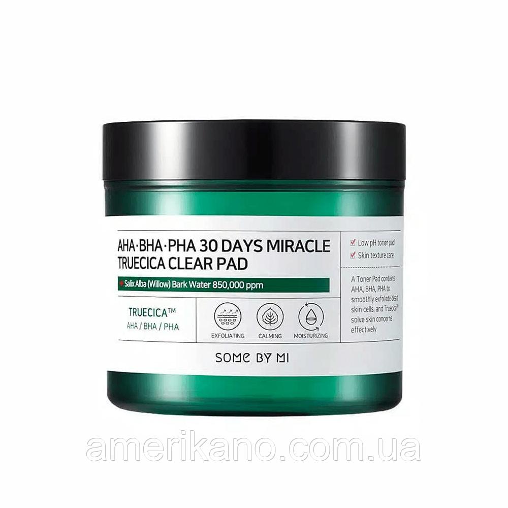 Кислотные пэды для проблемной кожи SOME BY MI AHA BHA PHA 30 Days Miracle Truecica Clear Pad, 70 шт