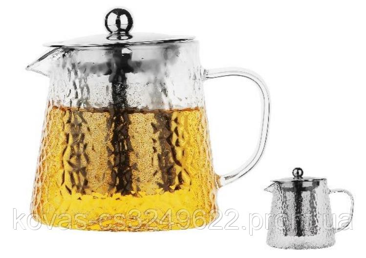 Стильний карбований скляний чайник-заварник . Термостійкий До 500°