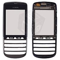 Touchscreen (сенсорный экран) для Nokia Asha 300, с передней панелью, оригинал (черный)