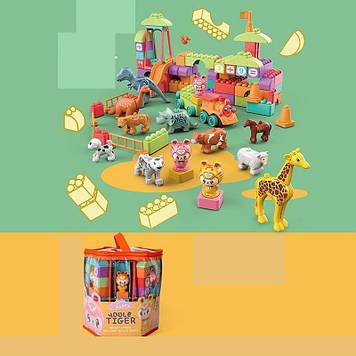 Блочний дитячий конструктор парк розваг з міні-зоопарком і фігурками тварин Конструктор дитячий блоковий