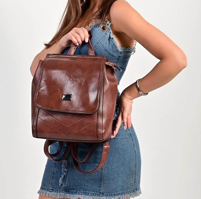 Женский темно-коричневый рюкзак код 7-9200