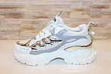 Кросівки жіночі білі з сріблястими вставками Т1374, фото 2