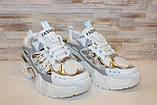 Кросівки жіночі білі з сріблястими вставками Т1374, фото 3